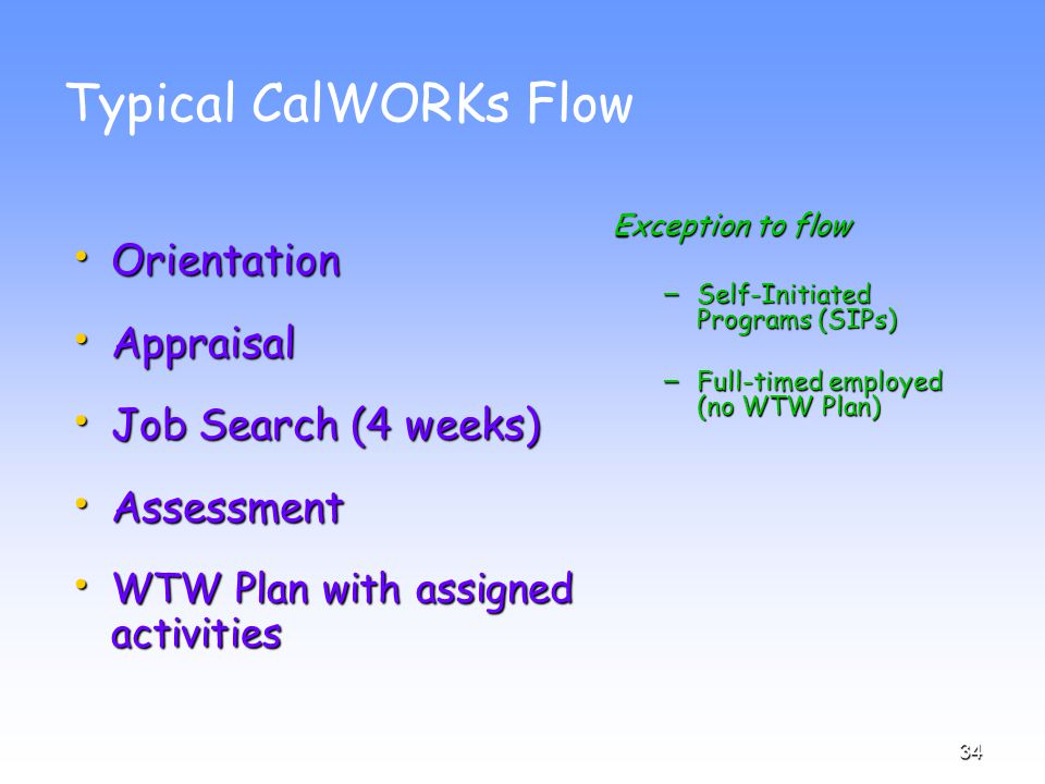 34 Typical CalWORKs Flow Orientation Orientation Appraisal Appraisal Job Search (4 weeks) Job Search (4 weeks) Assessment Assessment WTW Plan with assigned activities WTW Plan with assigned activities Exception to flow – Self-Initiated Programs (SIPs) – Full-timed employed (no WTW Plan)