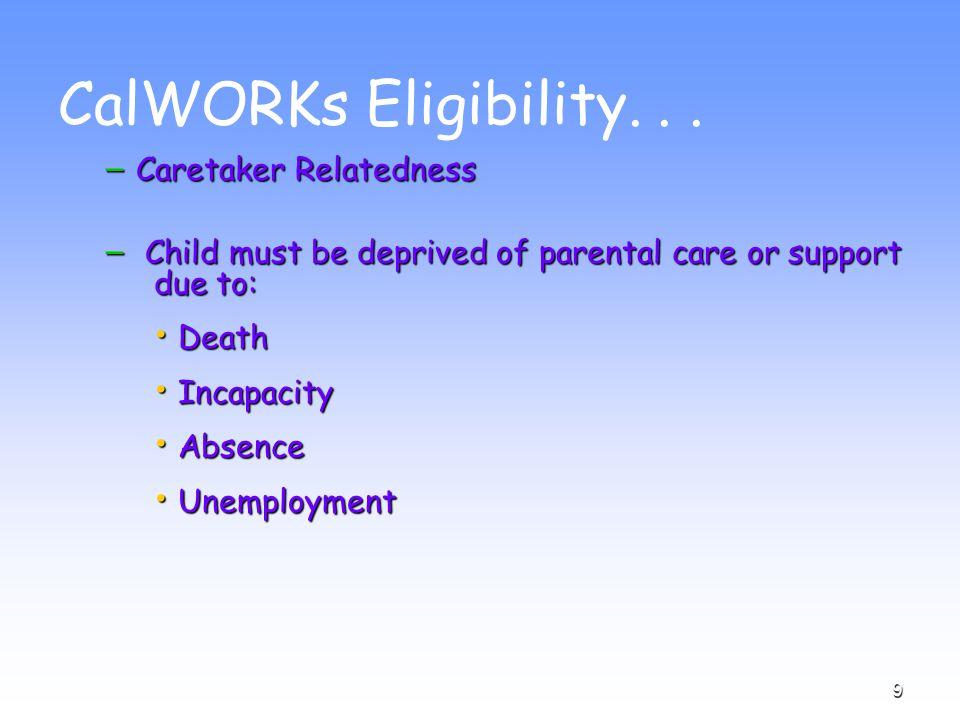 9 CalWORKs Eligibility...