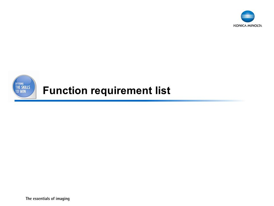 27 Function requirement list