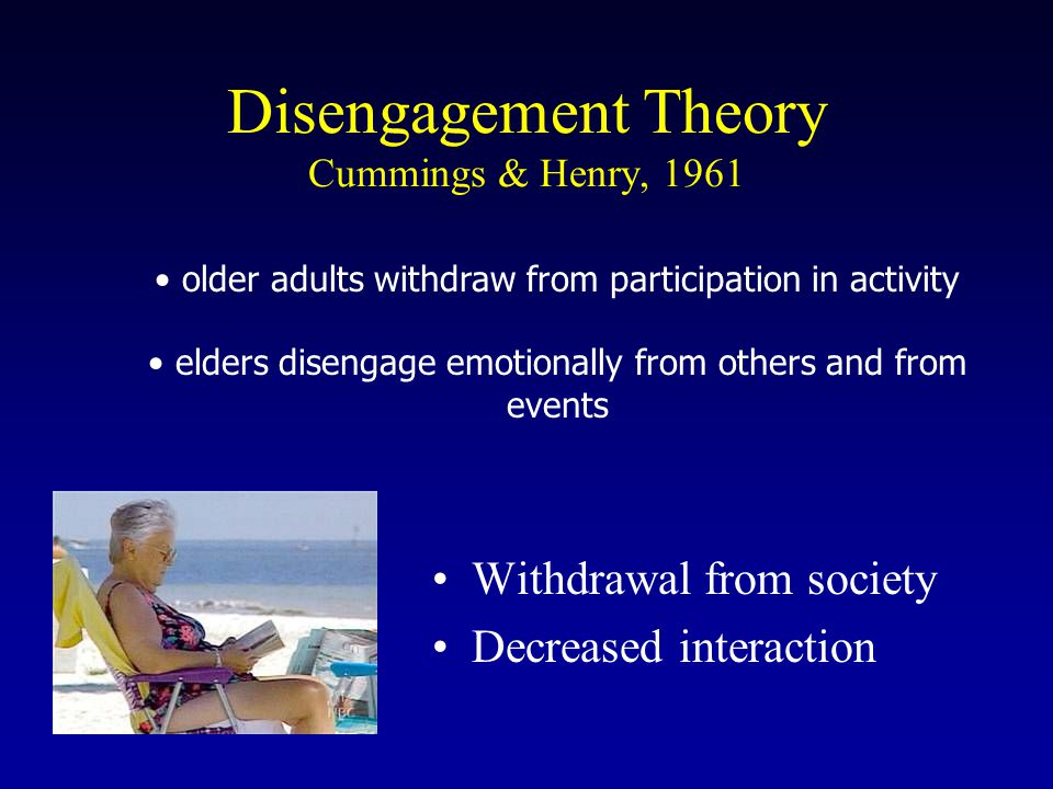 Withdrawal from society Decreased interaction Disengagement Theory Cummings & Henry, 1961 older adults withdraw from participation in activity elders disengage emotionally from others and from events