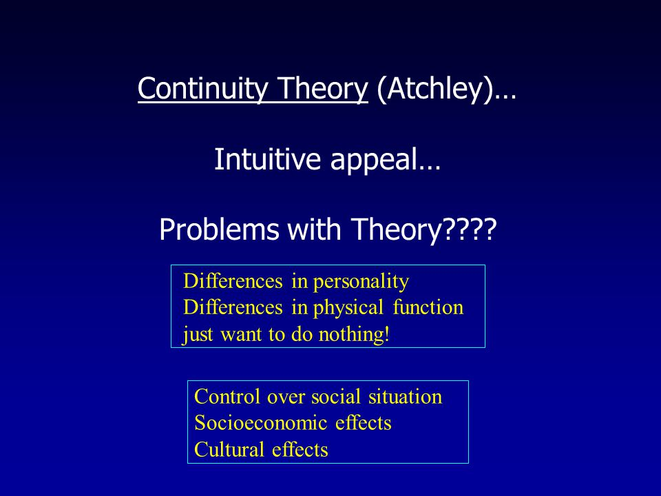 Continuity Theory (Atchley)… Intuitive appeal… Problems with Theory .