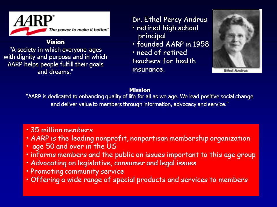 35 million members AARP is the leading nonprofit, nonpartisan membership organization age 50 and over in the US informs members and the public on issues important to this age group Advocating on legislative, consumer and legal issues Promoting community service Offering a wide range of special products and services to members Dr.
