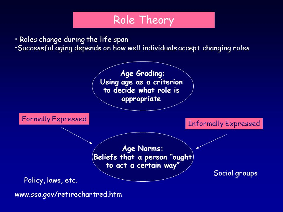 Roles change during the life span Successful aging depends on how well individuals accept changing roles Age Norms: Beliefs that a person ought to act a certain way Formally Expressed Informally Expressed Role Theory Policy, laws, etc.