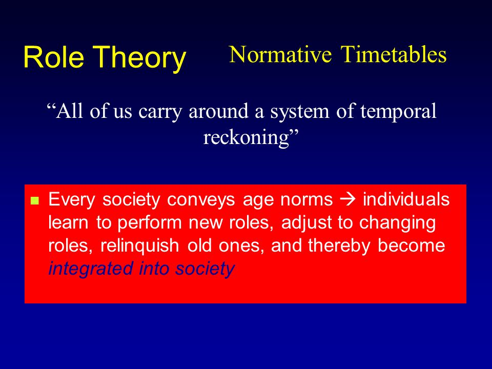 Normative Timetables All of us carry around a system of temporal reckoning Role Theory Every society conveys age norms  individuals learn to perform new roles, adjust to changing roles, relinquish old ones, and thereby become integrated into society