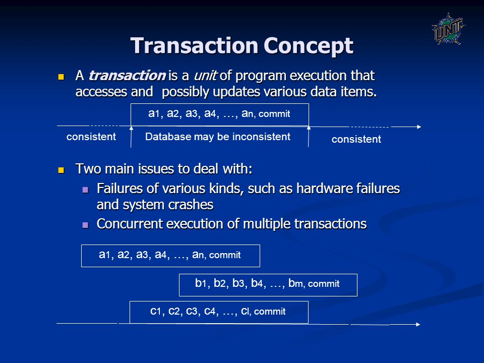 Transaction Concept A transaction is a unit of program execution that accesses and possibly updates various data items. A transaction is a unit of pro