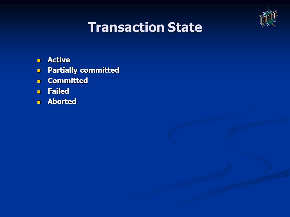 Transaction State Active Active Partially committed Partially committed Committed Committed Failed Failed Aborted Aborted