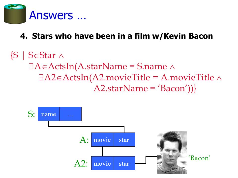 Answers … 4.Stars who have been in a film w/Kevin Bacon {S | S  Star   A  ActsIn(A.starName = S.name   A2  ActsIn(A2.movieTitle = A.movieTitle  A2.starName = 'Bacon'))} moviestar A2: S: name… 'Bacon' moviestar A: