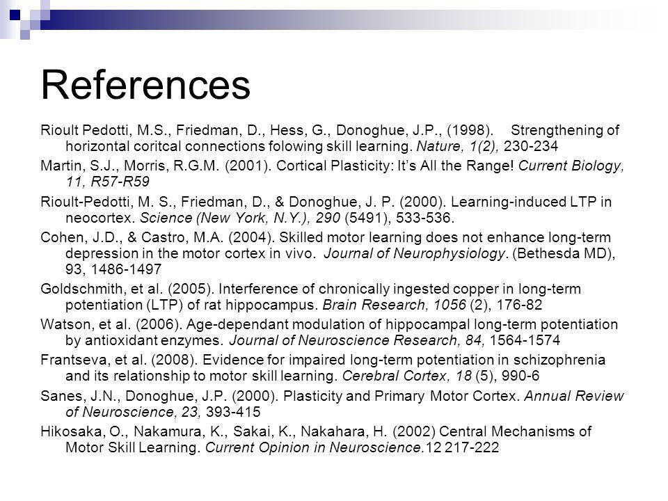References Rioult Pedotti, M.S., Friedman, D., Hess, G., Donoghue, J.P., (1998).