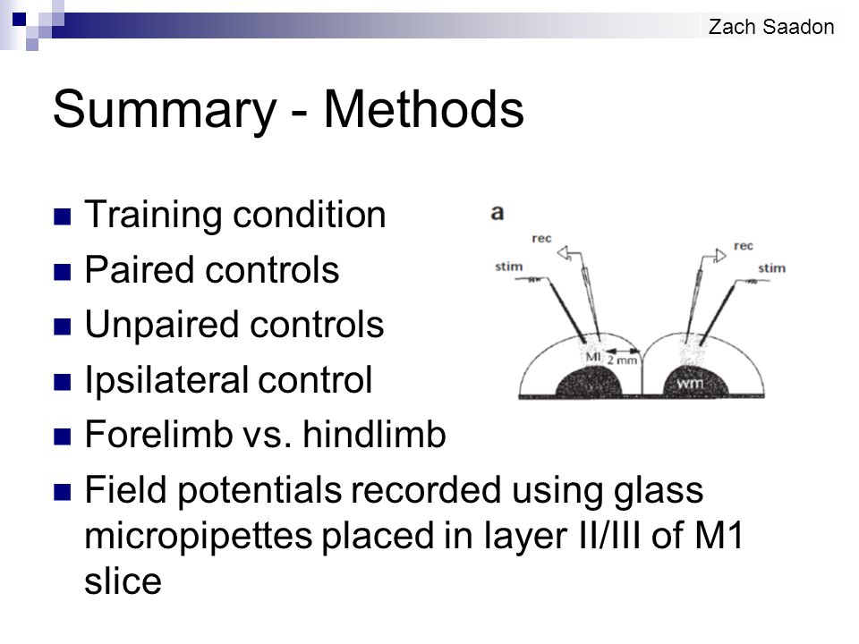 Summary - Methods Training condition Paired controls Unpaired controls Ipsilateral control Forelimb vs. hindlimb Field potentials recorded using glass