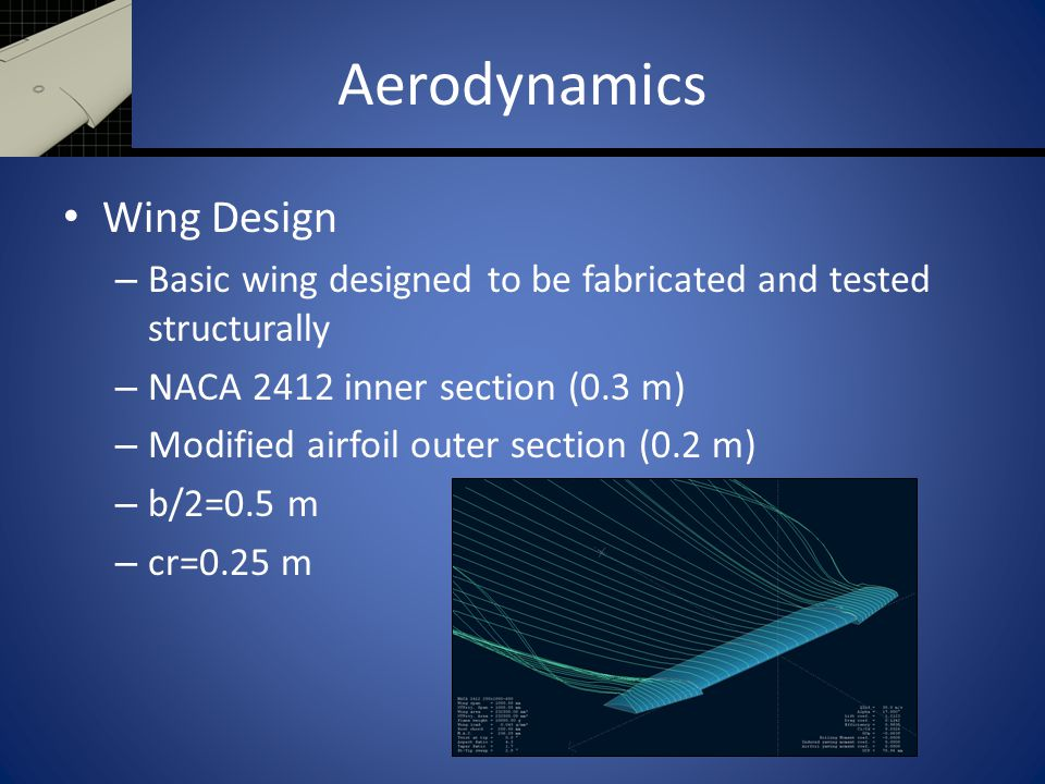 Aerodynamics Wing Design – Basic wing designed to be fabricated and tested structurally – NACA 2412 inner section (0.3 m) – Modified airfoil outer sec