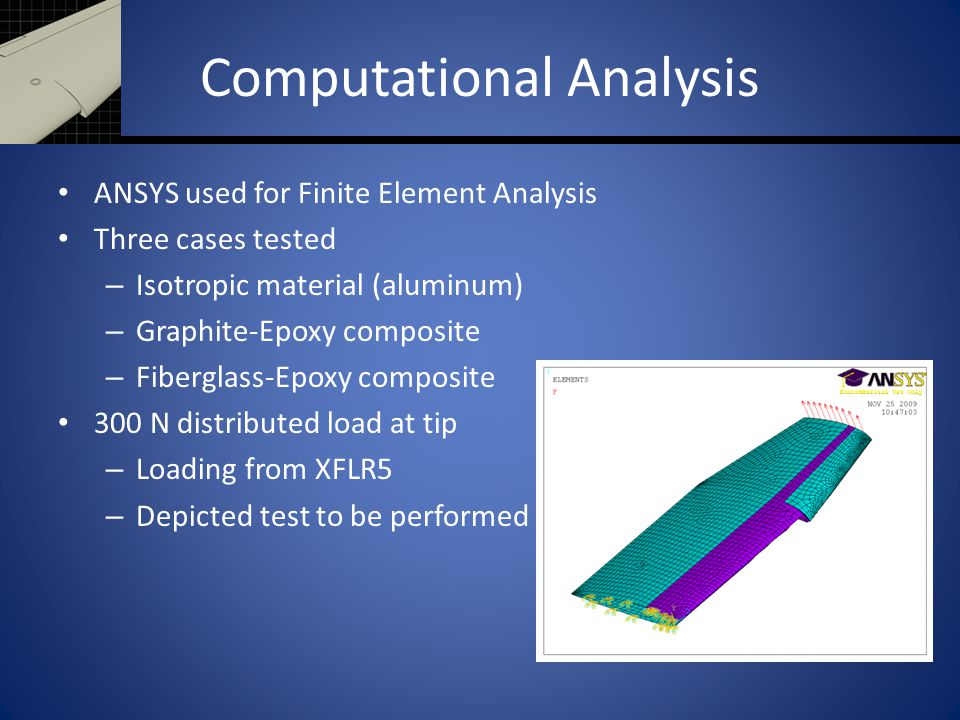 Computational Analysis ANSYS used for Finite Element Analysis Three cases tested – Isotropic material (aluminum) – Graphite-Epoxy composite – Fibergla