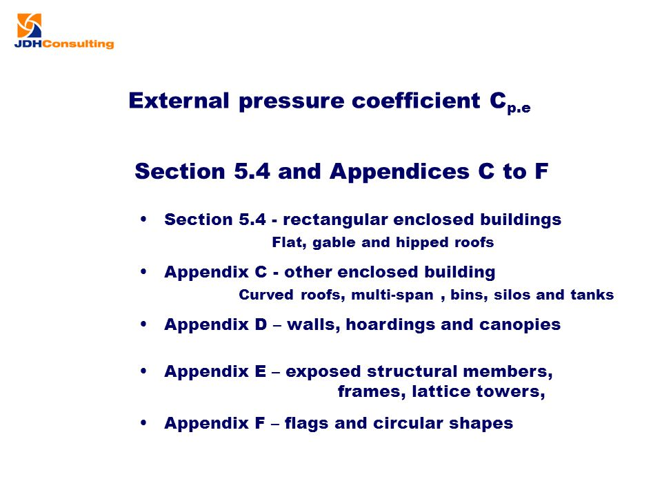 External pressure coefficient C p.e Section 5.4 and Appendices C to F Section 5.4 - rectangular enclosed buildings Flat, gable and hipped roofs Append