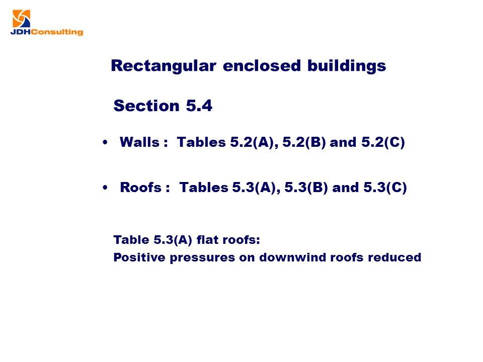 Rectangular enclosed buildings Table 5.3(A) flat roofs: Positive pressures on downwind roofs reduced Section 5.4 Roofs : Tables 5.3(A), 5.3(B) and 5.3