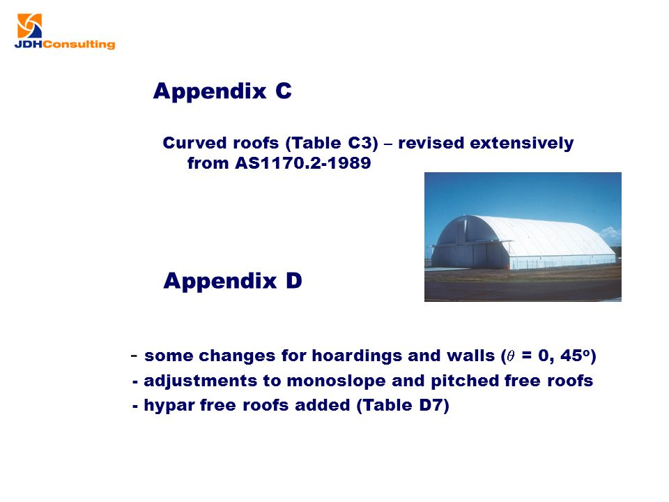 Appendix C Curved roofs (Table C3) – revised extensively from AS1170.2-1989 Appendix D - some changes for hoardings and walls (  = 0, 45 o ) - adjust