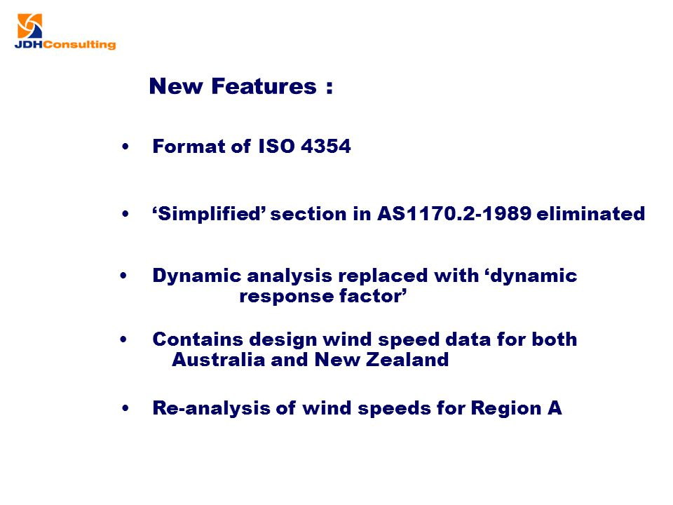 New Features : Format of ISO 4354 'Simplified' section in AS1170.2-1989 eliminated Dynamic analysis replaced with 'dynamic response factor' Contains d