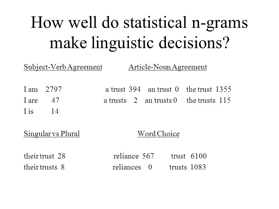 How well do statistical n-grams make linguistic decisions.