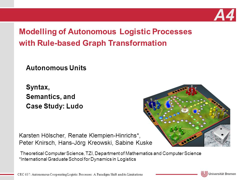 CRC 637: Autonomous Cooperating Logistic Processes: A Paradigm Shift and its Limitations A4 Theoretical Computer Science, TZI, Department of Mathematics and Computer Science *International Graduate School for Dynamics in Logistics Karsten Hölscher, Renate Klempien-Hinrichs*, Peter Knirsch, Hans-Jörg Kreowski, Sabine Kuske Modelling of Autonomous Logistic Processes with Rule-based Graph Transformation Autonomous Units Syntax, Semantics, and Case Study: Ludo