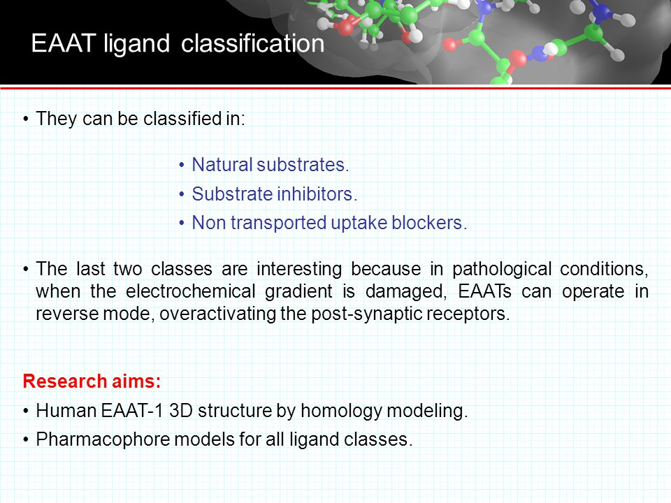 EAAT ligand classification They can be classified in: Natural substrates.