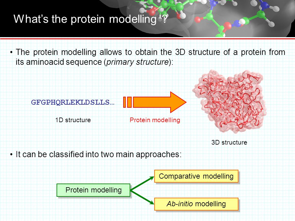Comparative modelling It's based on the assumption: proteins with high homology of sequence should have similar folding.