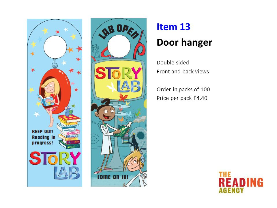 Item 13 Door hanger Double sided Front and back views Order in packs of 100 Price per pack £4.40