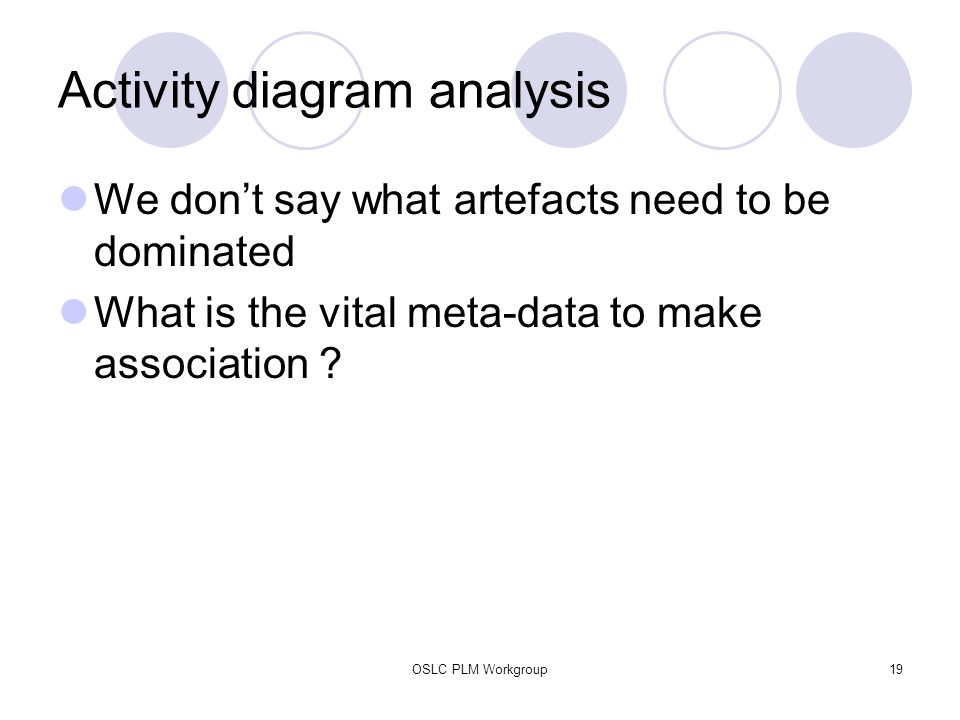 OSLC PLM Workgroup19 Activity diagram analysis We don't say what artefacts need to be dominated What is the vital meta-data to make association ?