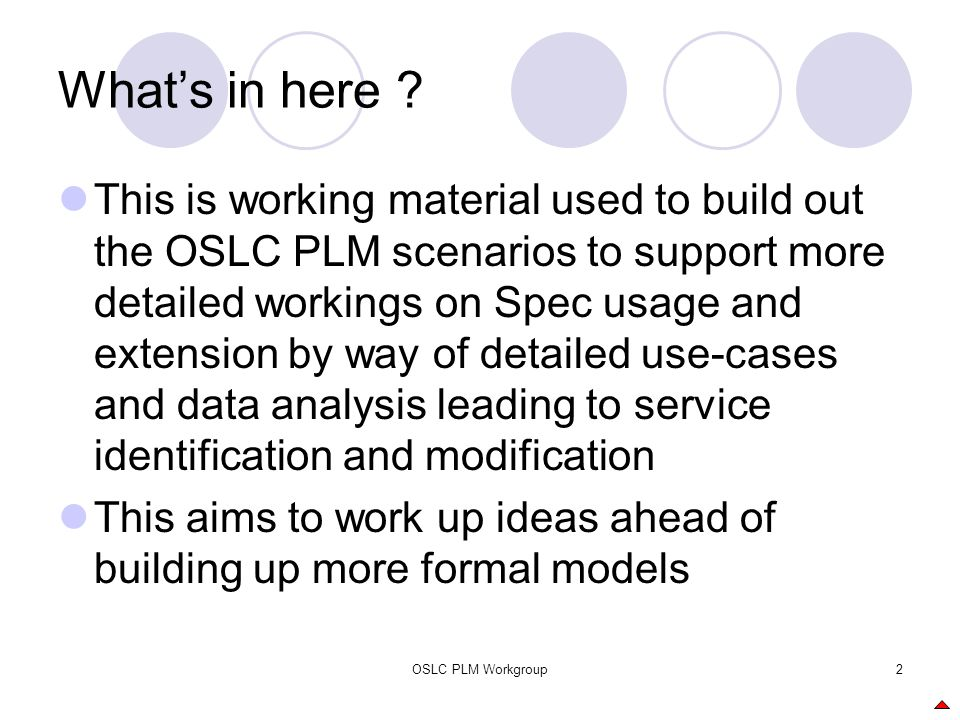 OSLC PLM Workgroup2 What's in here ? This is working material used to build out the OSLC PLM scenarios to support more detailed workings on Spec usage