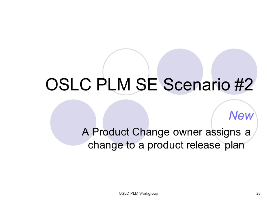 OSLC PLM Workgroup26 OSLC PLM SE Scenario #2 New A Product Change owner assigns a change to a product release plan
