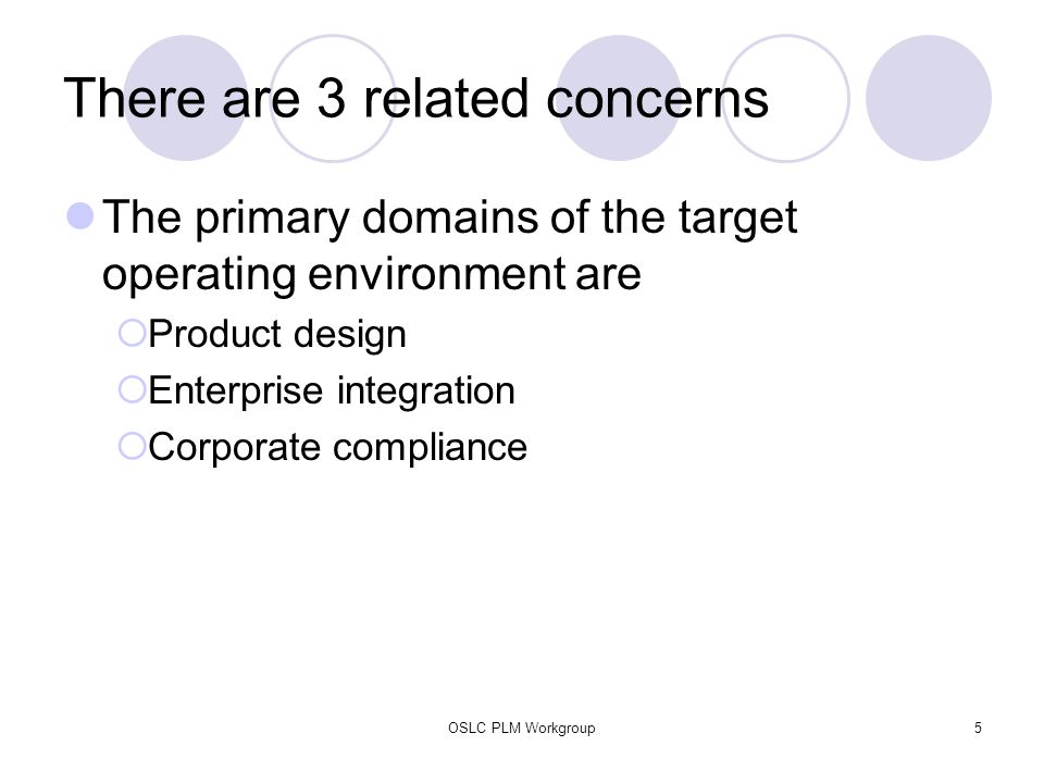 OSLC PLM Workgroup5 There are 3 related concerns The primary domains of the target operating environment are  Product design  Enterprise integration