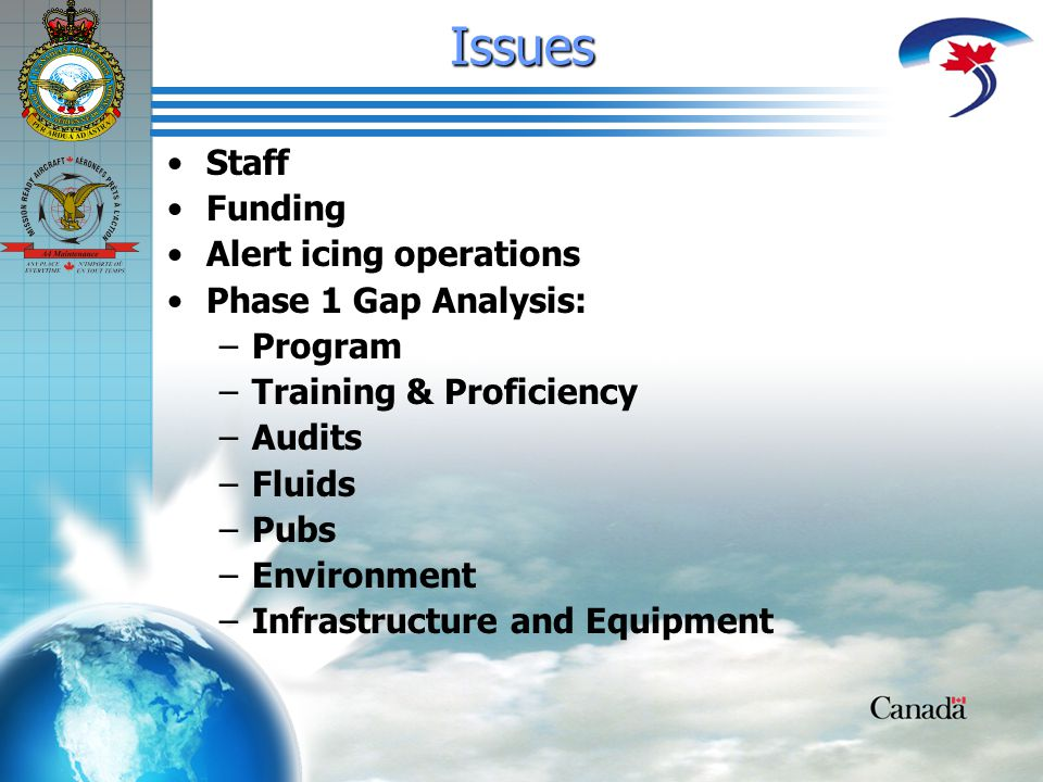 Issues Staff Funding Alert icing operations Phase 1 Gap Analysis: – –Program – –Training & Proficiency – –Audits – –Fluids – –Pubs – –Environment – –Infrastructure and Equipment