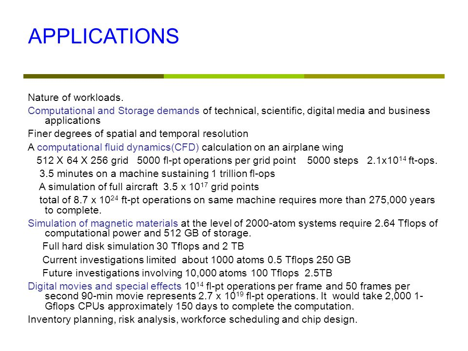 APPLICATIONS Nature of workloads.