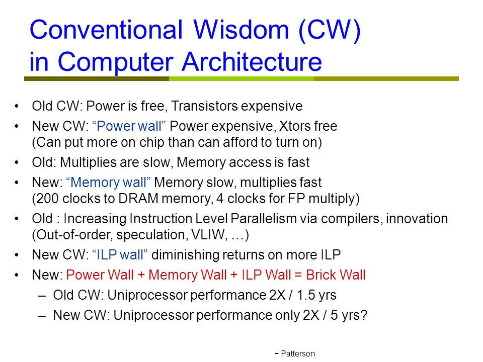 Old CW: Power is free, Transistors expensive New CW: Power wall Power expensive, Xtors free (Can put more on chip than can afford to turn on)‏ Old: Multiplies are slow, Memory access is fast New: Memory wall Memory slow, multiplies fast (200 clocks to DRAM memory, 4 clocks for FP multiply)‏ Old : Increasing Instruction Level Parallelism via compilers, innovation (Out-of-order, speculation, VLIW, …)‏ New CW: ILP wall diminishing returns on more ILP New: Power Wall + Memory Wall + ILP Wall = Brick Wall –Old CW: Uniprocessor performance 2X / 1.5 yrs –New CW: Uniprocessor performance only 2X / 5 yrs.