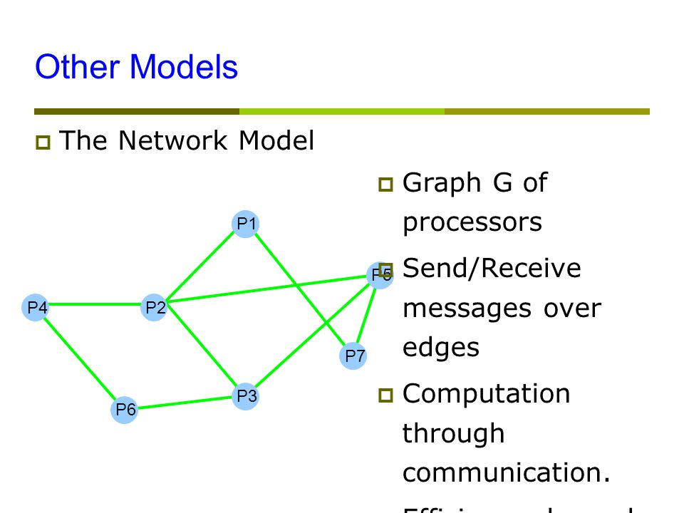 Other Models  The Network Model P4 P1 P5 P7 P3 P2 P6  Graph G of processors  Send/Receive messages over edges  Computation through communication.