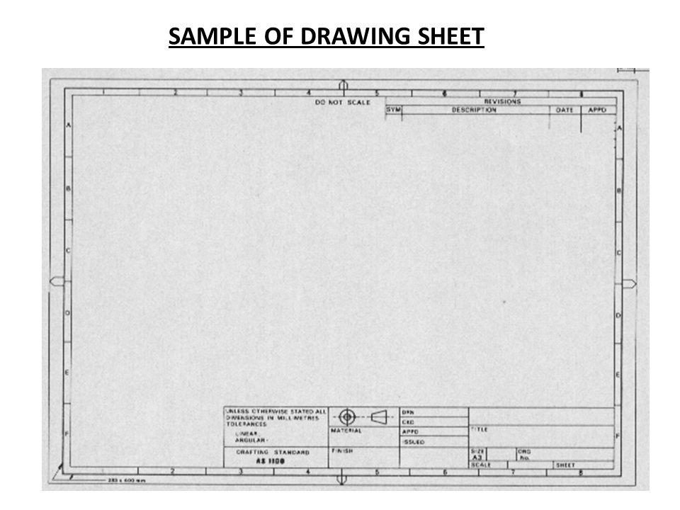 SAMPLE OF DRAWING SHEET