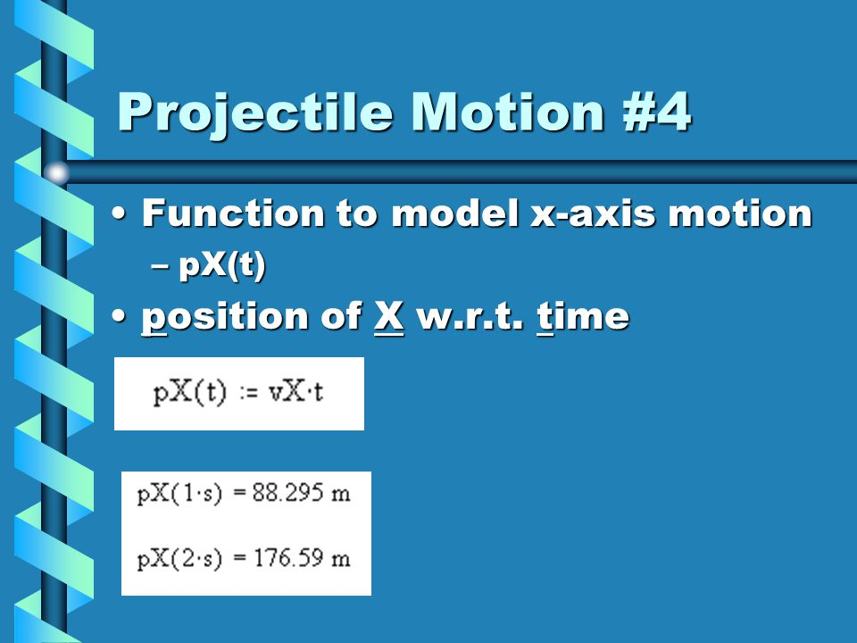 Projectile Motion #3 Use simple trig to get x- and y- components of velocityUse simple trig to get x- and y- components of velocity