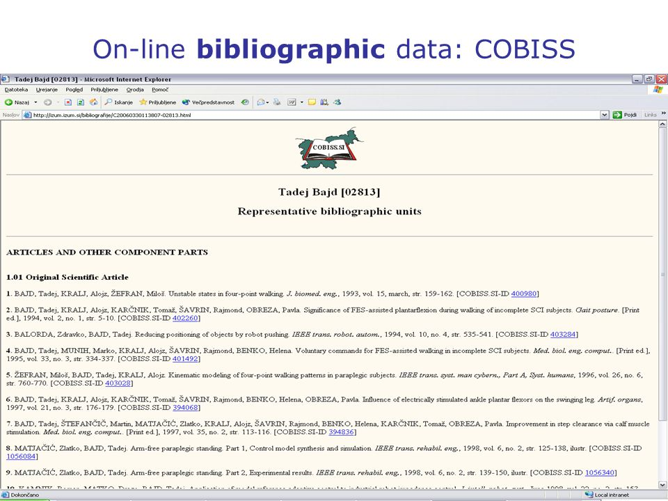 On-line bibliographic data: COBISS