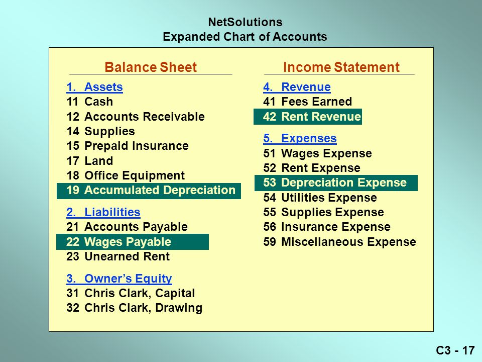 C3 - 17 NetSolutions Expanded Chart of Accounts Balance Sheet Income Statement 1.Assets 11Cash 12Accounts Receivable 14Supplies 15Prepaid Insurance 17Land 18Office Equipment 19Accumulated Depreciation 2.Liabilities 21Accounts Payable 22Wages Payable 23Unearned Rent 3.Owner's Equity 31Chris Clark, Capital 32Chris Clark, Drawing 4.Revenue 41Fees Earned 42Rent Revenue 5.Expenses 51Wages Expense 52Rent Expense 53Depreciation Expense 54Utilities Expense 55Supplies Expense 56Insurance Expense 59Miscellaneous Expense