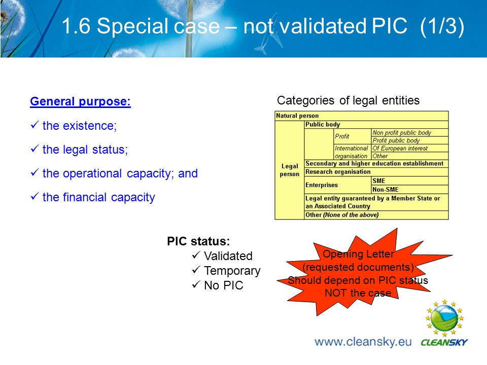 18 1.6 Special case – not validated PIC (1/3) General purpose: the existence; the legal status; the operational capacity; and the financial capacity Categories of legal entities PIC status: Validated Temporary No PIC Opening Letter (requested documents) Should depend on PIC status NOT the case