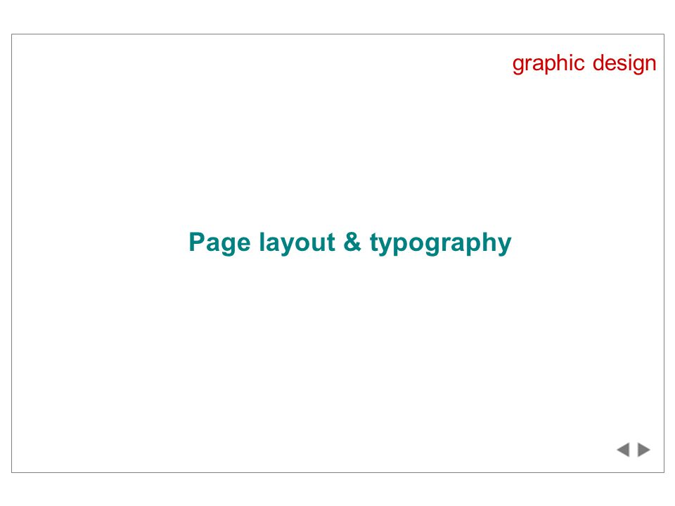 graphic design Page layout & typography