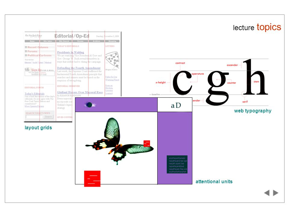 lecture topics layout grids web typography attentional units