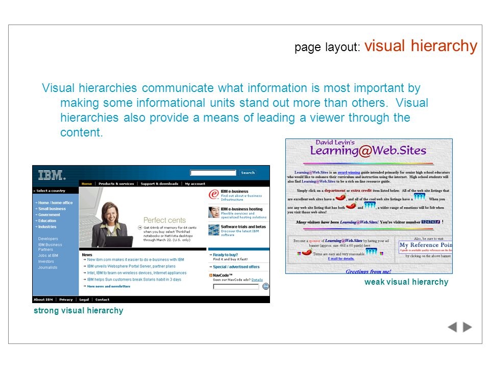 page layout: visual hierarchy Visual hierarchies communicate what information is most important by making some informational units stand out more than others.