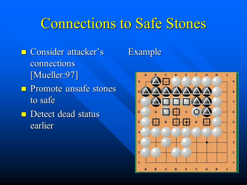 Connections to Safe Stones Consider attacker's connections [Mueller:97] Consider attacker's connections [Mueller:97] Promote unsafe stones to safe Pro