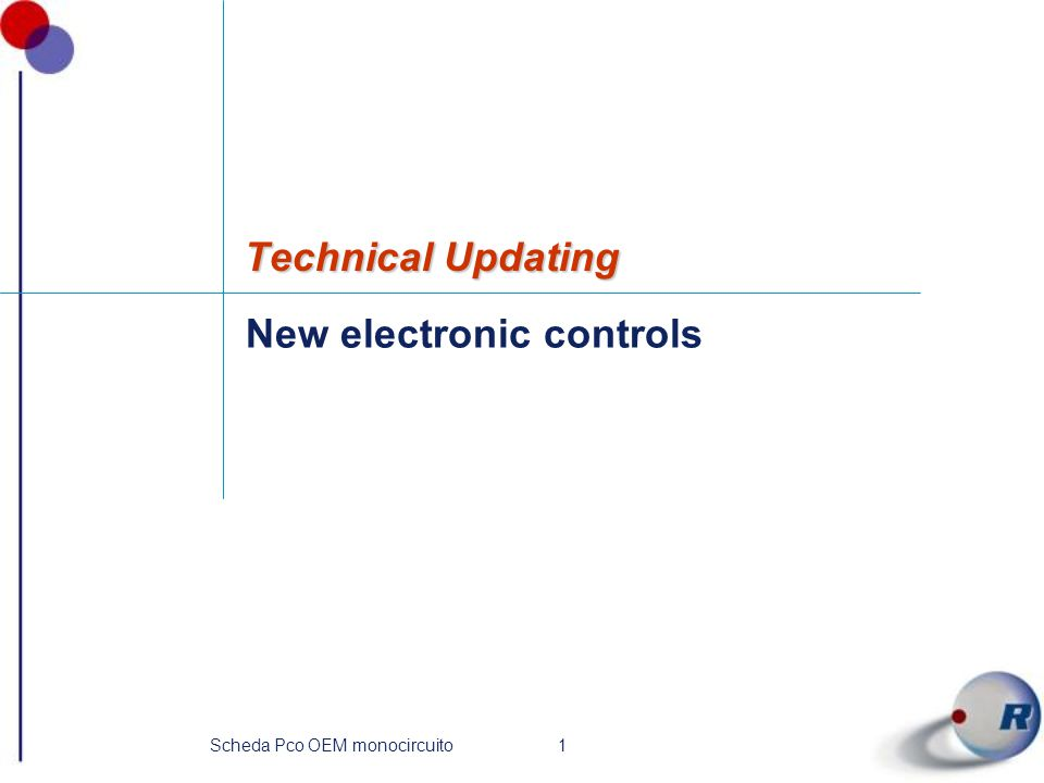 1Scheda Pco OEM monocircuito New electronic controls Technical Updating