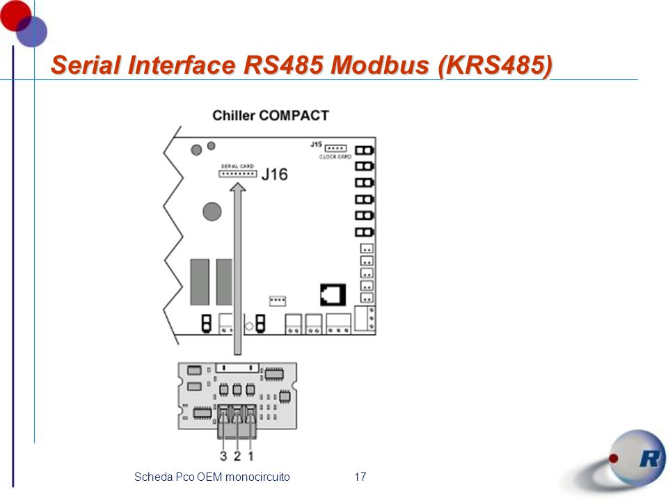 17Scheda Pco OEM monocircuito Serial Interface RS485 Modbus (KRS485)