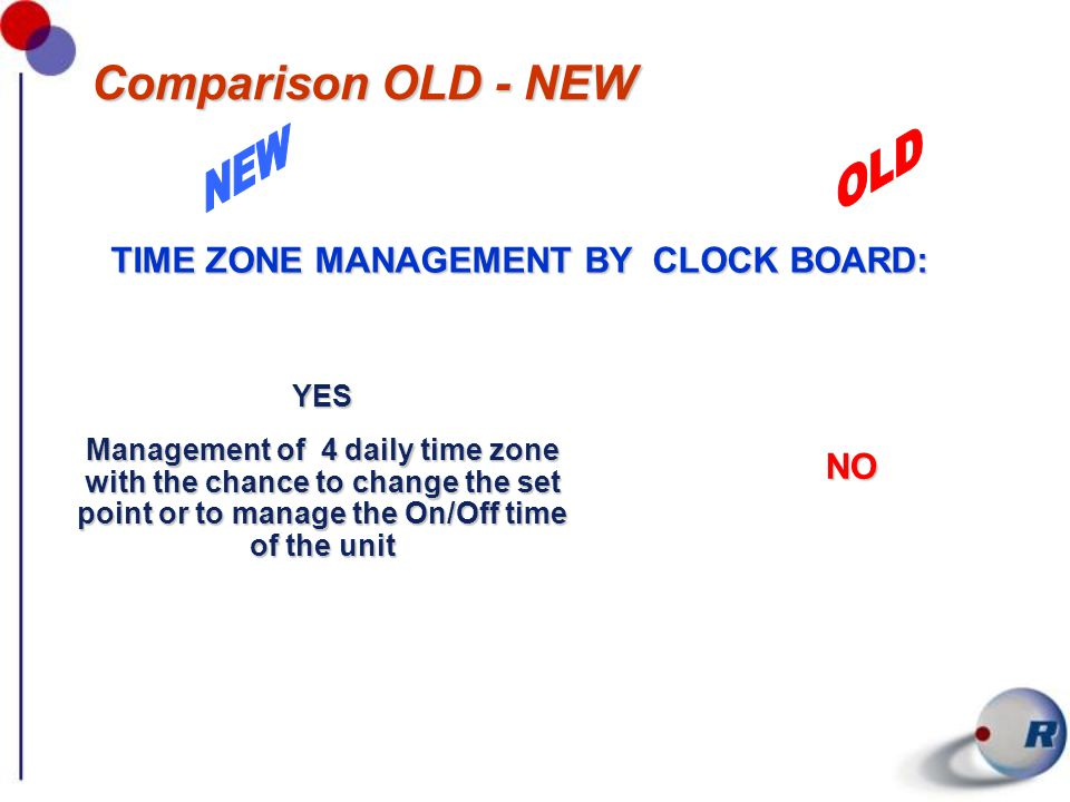 Comparison OLD - NEW TIME ZONE MANAGEMENT BY CLOCK BOARD: YES Management of 4 daily time zone with the chance to change the set point or to manage the