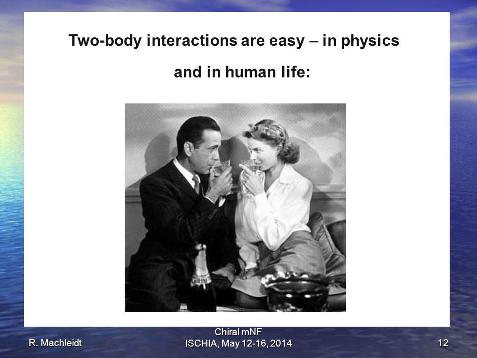 R. Machleidt Chiral mNF ISCHIA, May 12-16, 201412 And and Two-body interactions are easy – in physics and in human life: