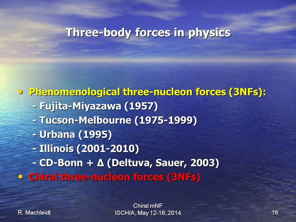 Three-body forces in physics Phenomenological three-nucleon forces (3NFs): Phenomenological three-nucleon forces (3NFs): - Fujita-Miyazawa (1957) - Fu