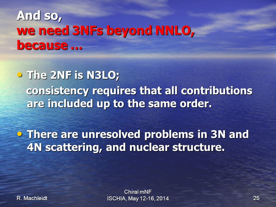 The 2NF is N3LO; The 2NF is N3LO; consistency requires that all contributions are included up to the same order. consistency requires that all contrib