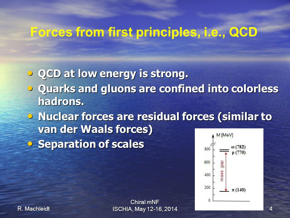 R. Machleidt Chiral mNF ISCHIA, May 12-16, 20144 Forces from first principles, i.e., QCD QCD at low energy is strong. QCD at low energy is strong. Qua