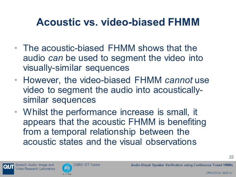 CRICOS No. 000213J Speech, Audio, Image and Video Research Laboratory Audio-Visual Speaker Verification using Continuous Fused HMMs CSIRO ICT Centre 2