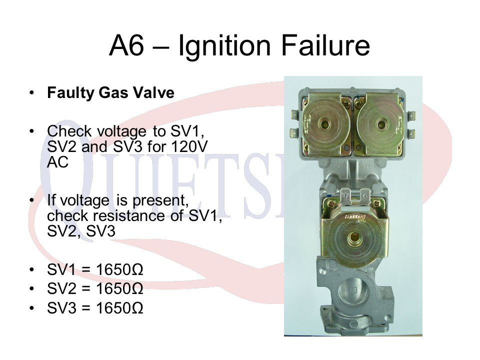 A6 – Ignition Failure Faulty Gas Valve Check voltage to SV1, SV2 and SV3 for 120V AC If voltage is present, check resistance of SV1, SV2, SV3 SV1 = 1650Ω SV2 = 1650Ω SV3 = 1650Ω